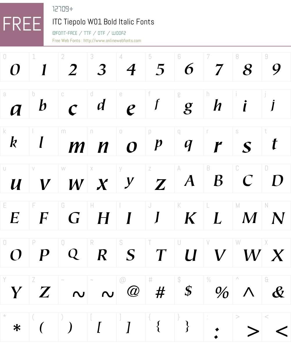 ITCTiepoloW01-BoldItalic Font Screenshots