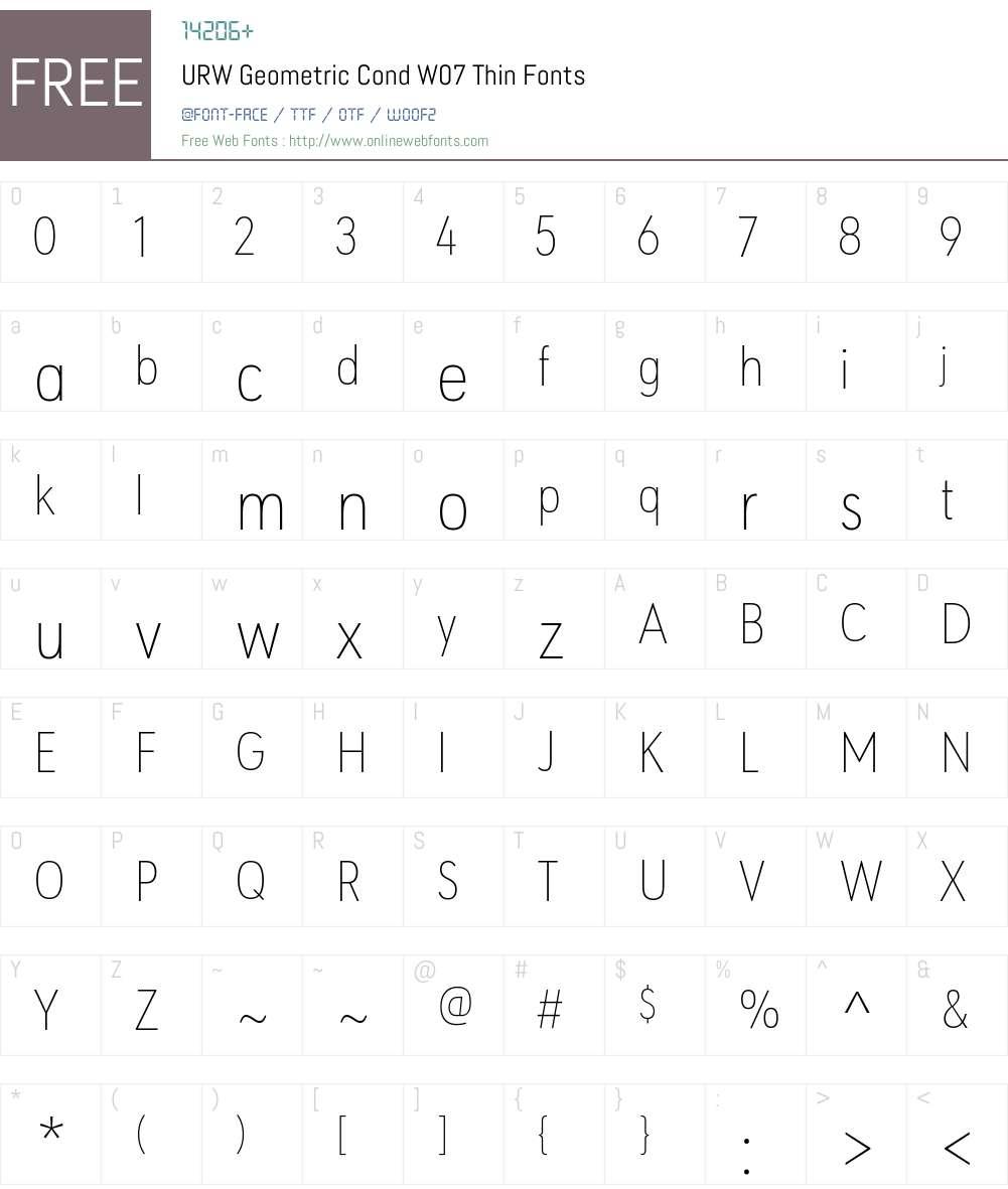 URWGeometricCondW07-Thin Font Screenshots