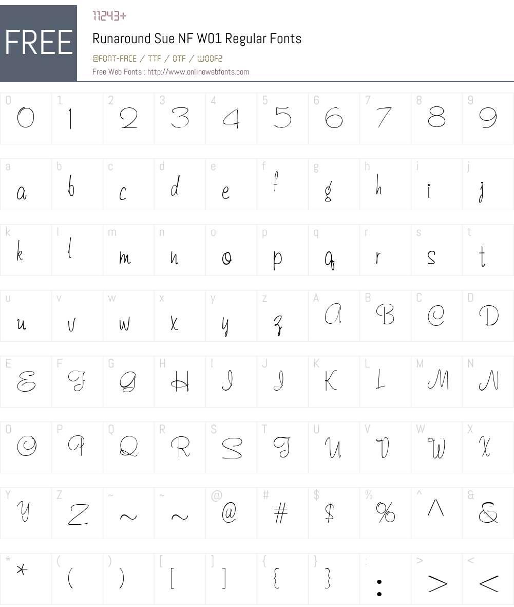 RunaroundSueNFW01-Regular Font Screenshots