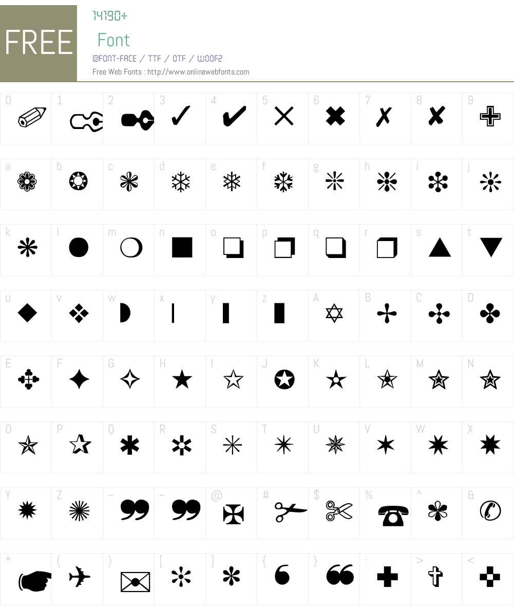 dingbats-Thin Font Screenshots