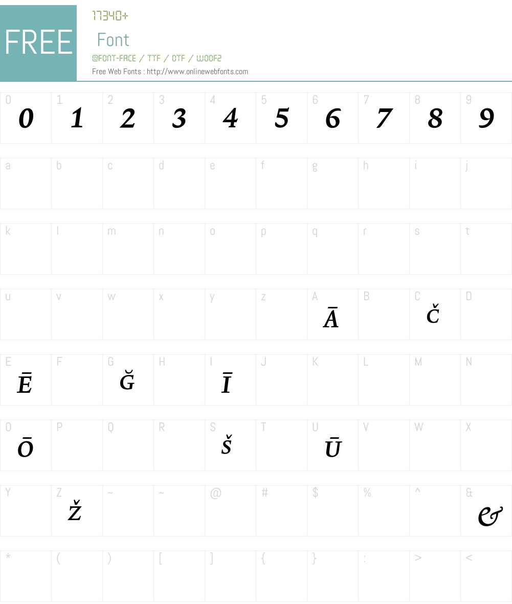 LexiconNo1ItalicB Font Screenshots