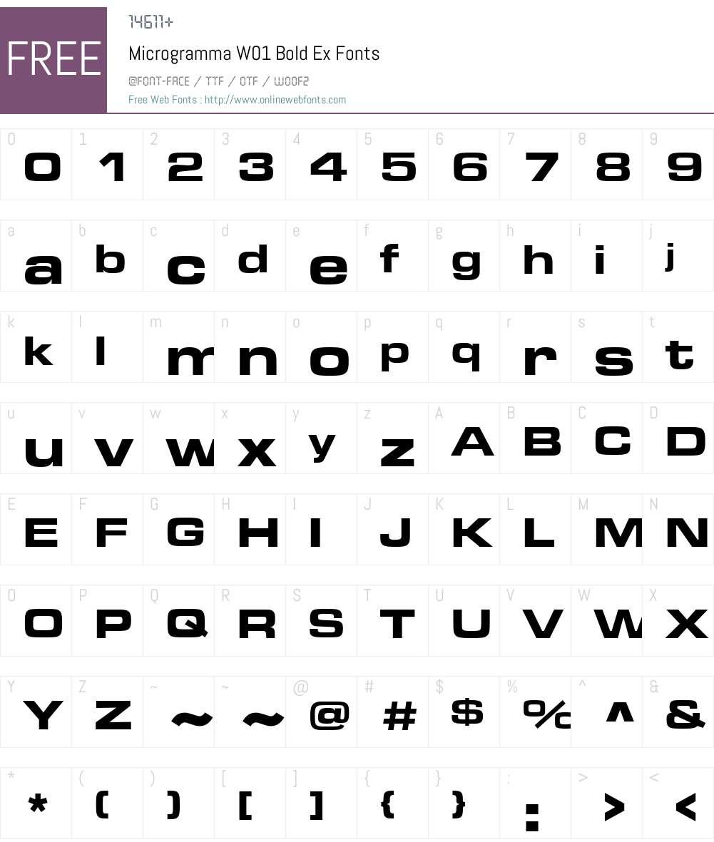 MicrogrammaW01-BoldEx Font Screenshots