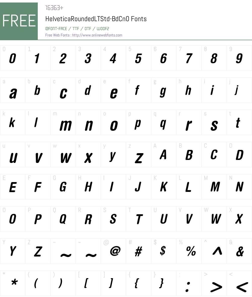 HelveticaRounded LT Std BdCn Font Screenshots