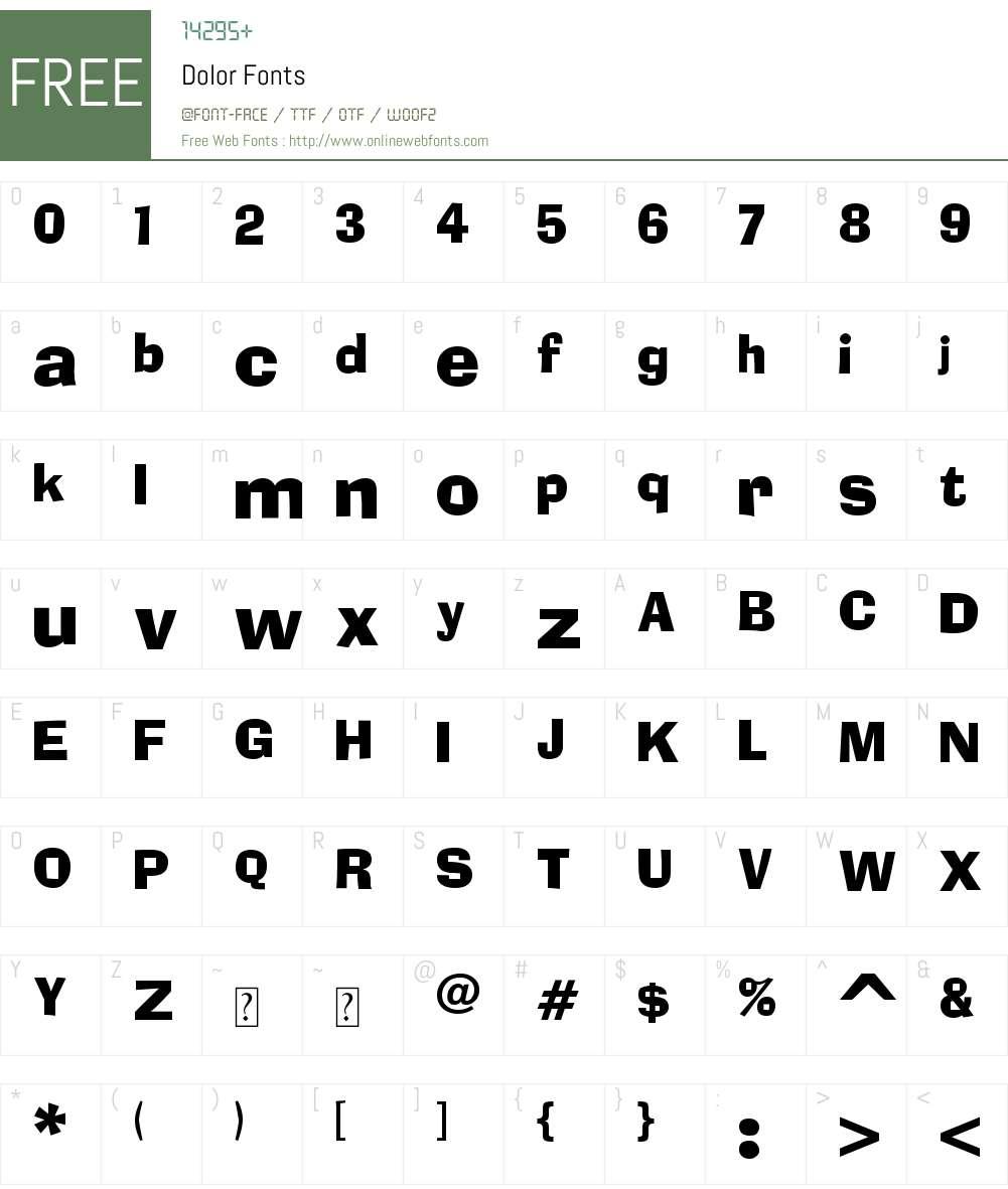 Dolor Font Screenshots