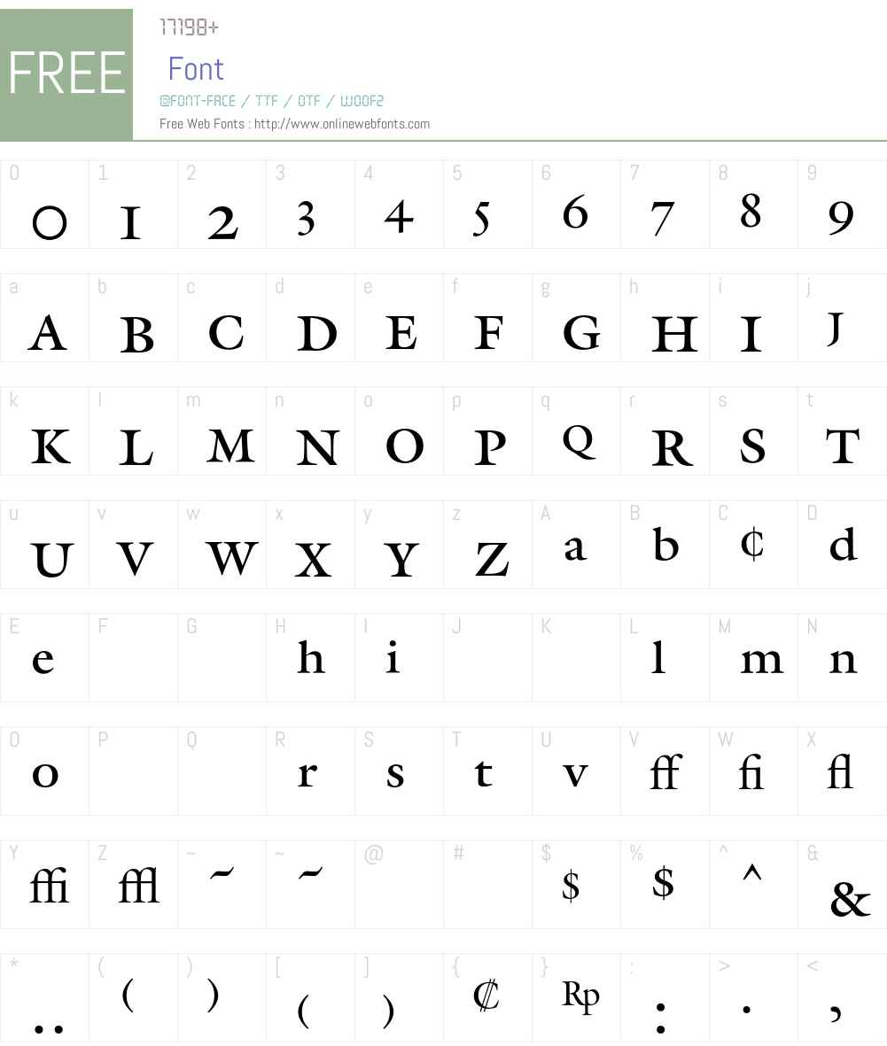 Galliard Font Screenshots