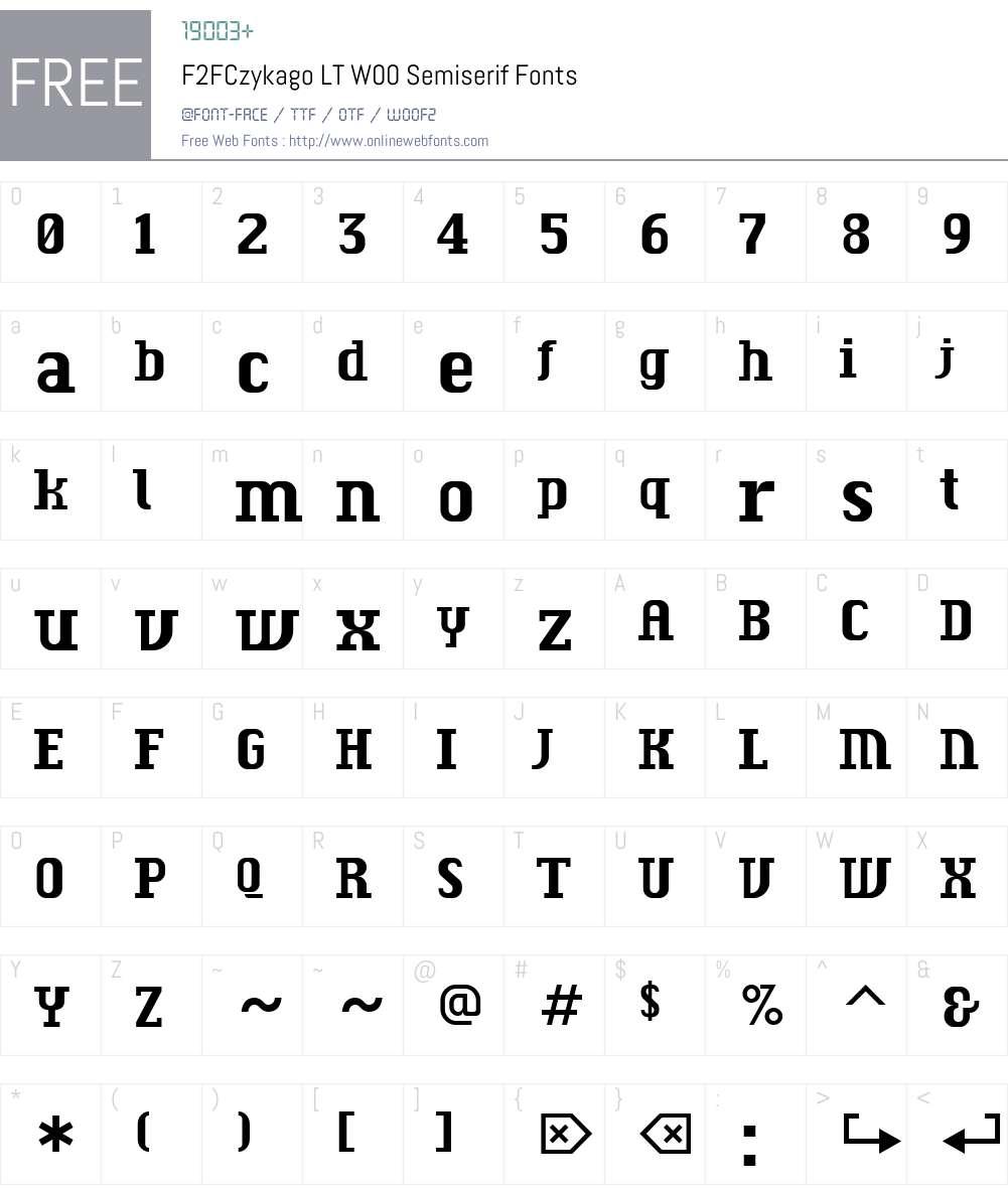 F2FCzykagoLTW00-Semiserif Font Screenshots
