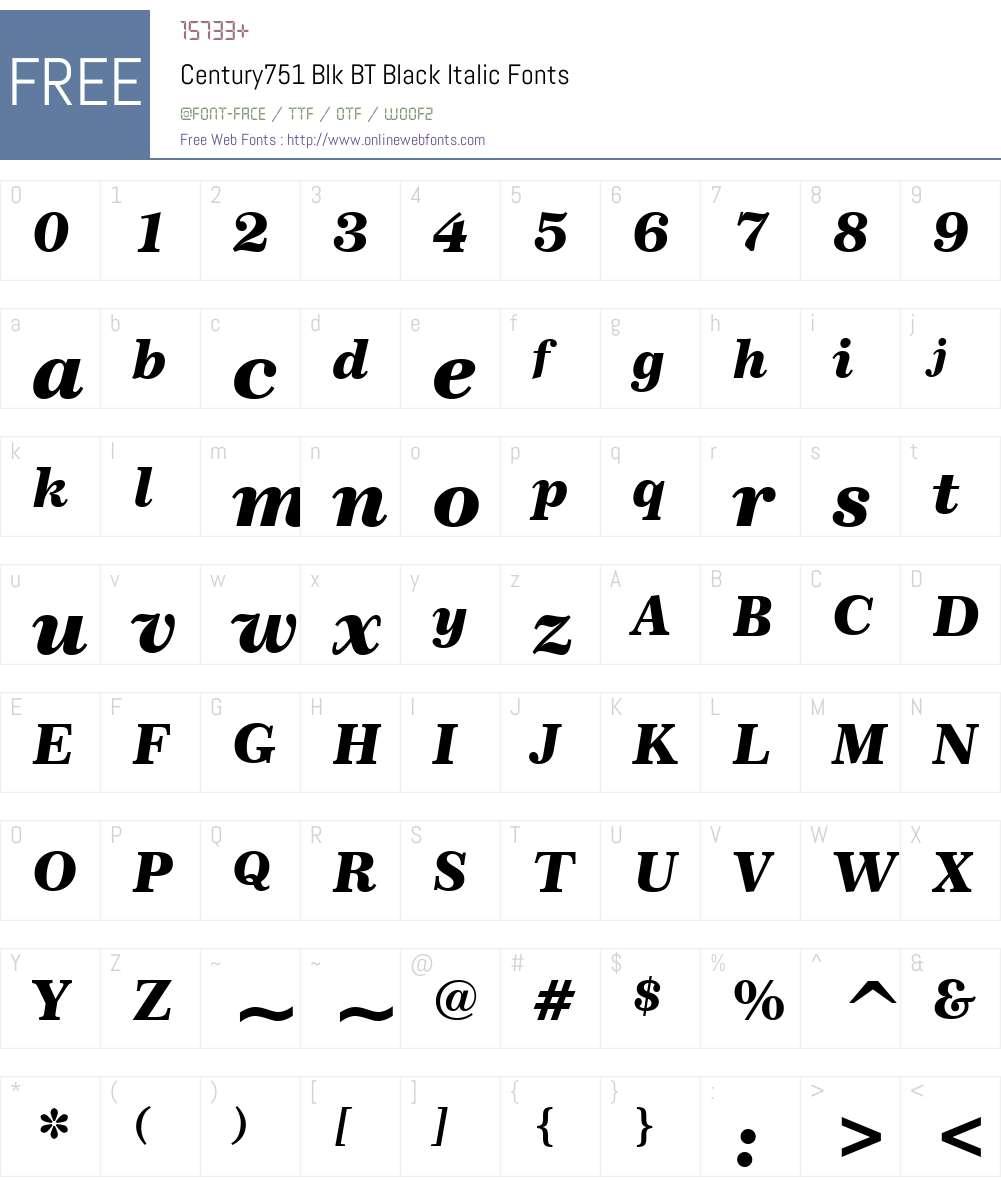 Century751 Blk BT Font Screenshots