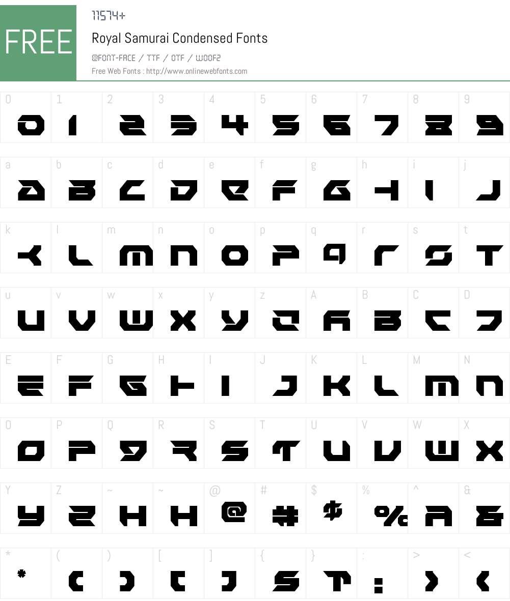 Royal Samurai Condensed Font Screenshots