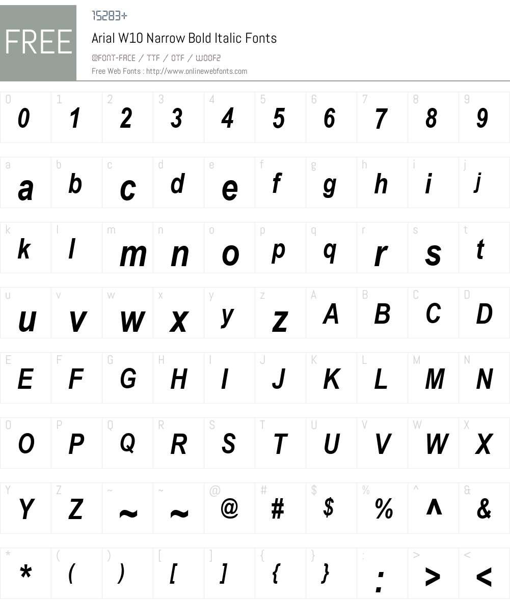 ArialW10-NarrowBoldItalic Font Screenshots