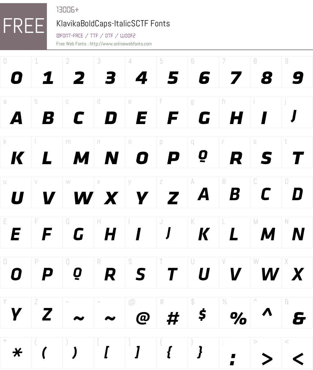 Klavika Bold Caps Font Screenshots