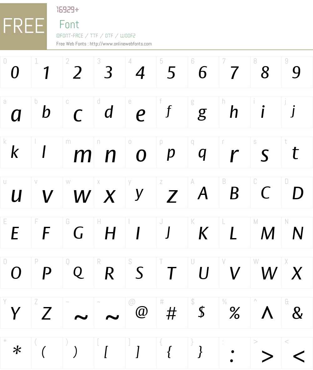 BigVestaW01-Italic Font Screenshots