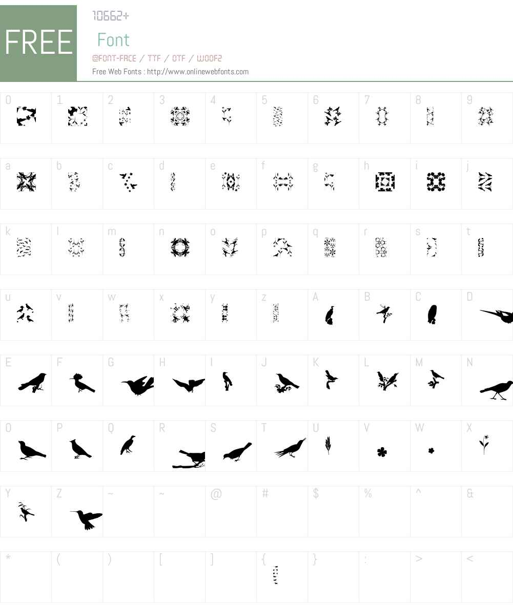 LoveBirdsW95-Pattern Font Screenshots