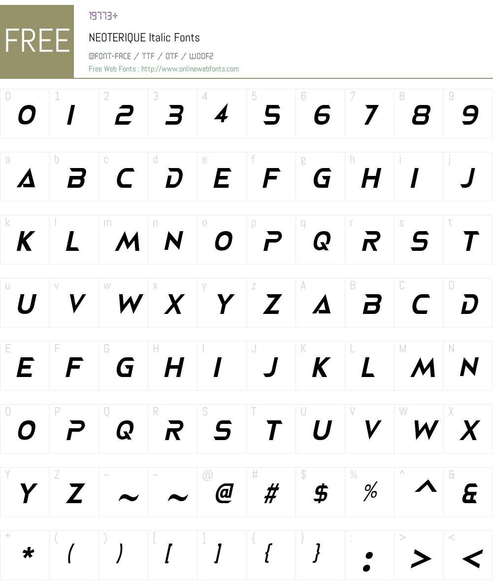 NEOTERIQUE Font Screenshots