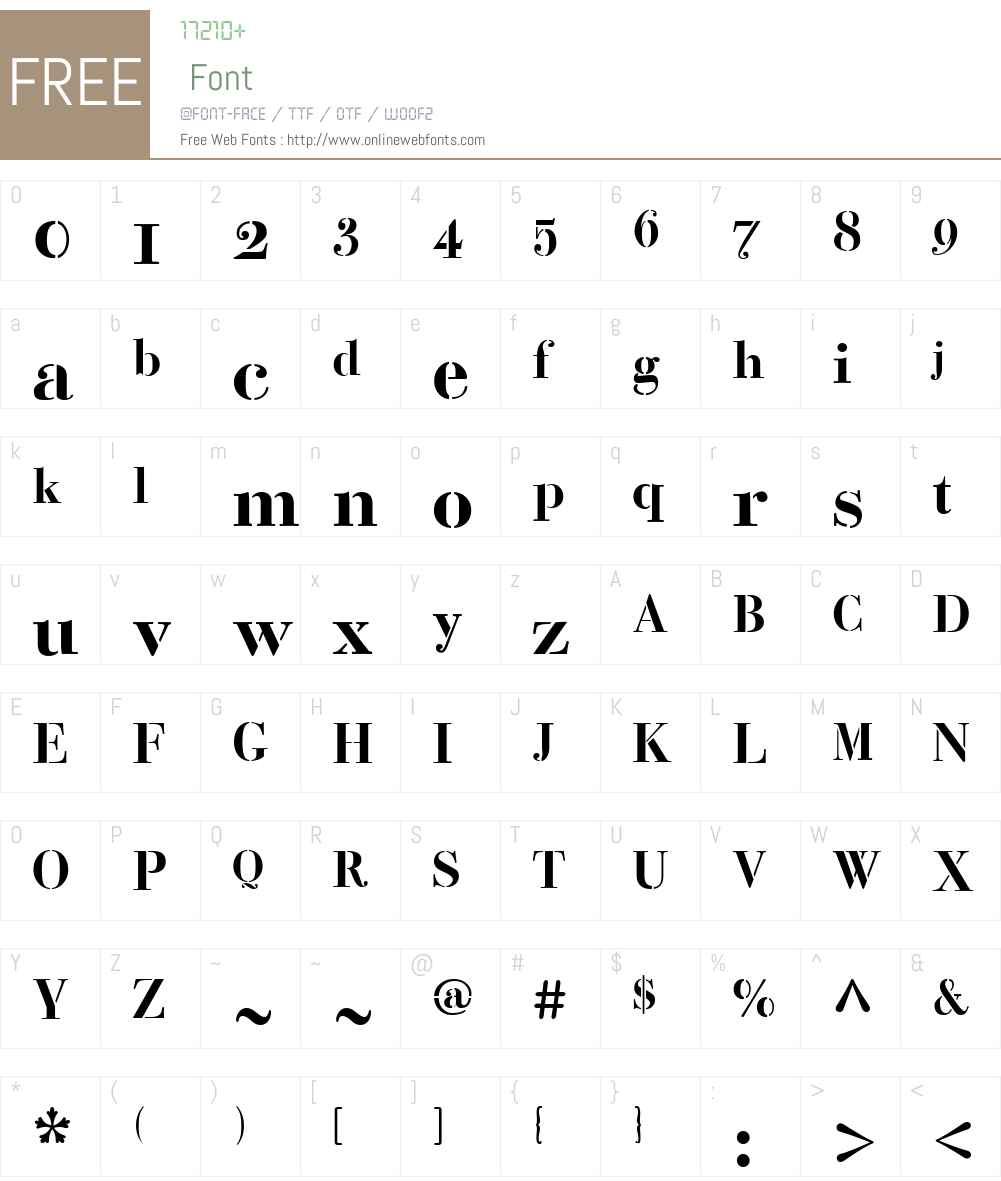 BodoniClassicW01-Stencil Font Screenshots