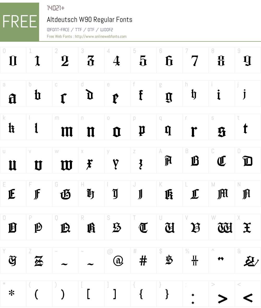 AltdeutschW90-Regular Font Screenshots