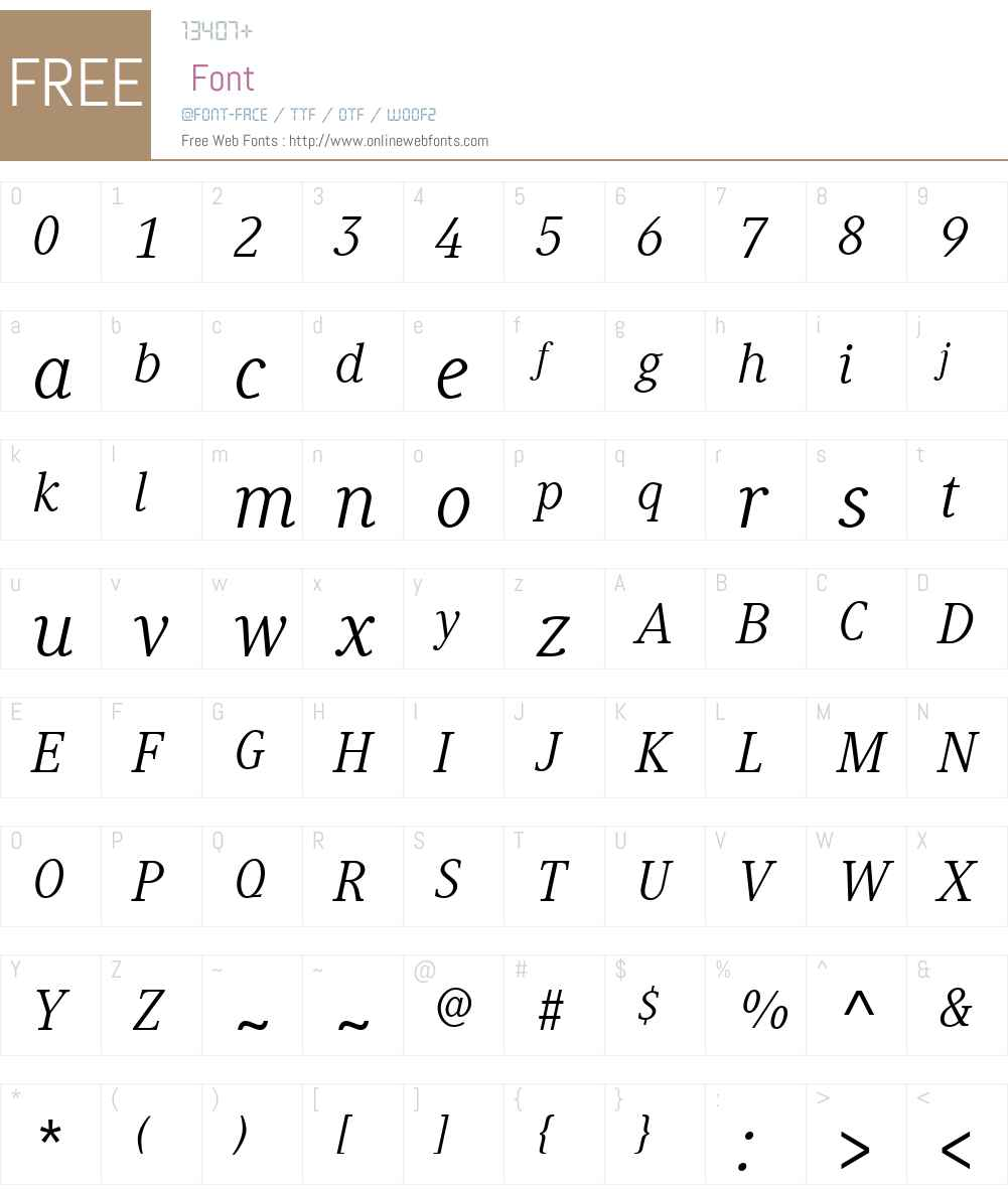 GenerisSerifW01-Italic Font Screenshots