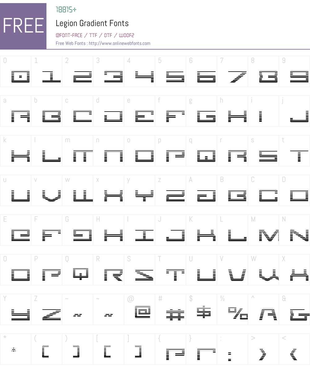 Legion Gradient Font Screenshots