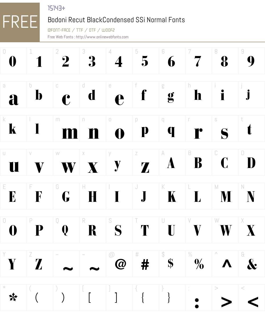 Bodoni Recut BlackCondensed SSi Font Screenshots