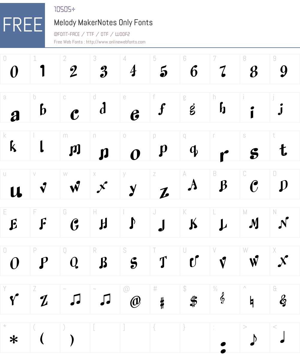 Melody MakerNotes Only Font Screenshots