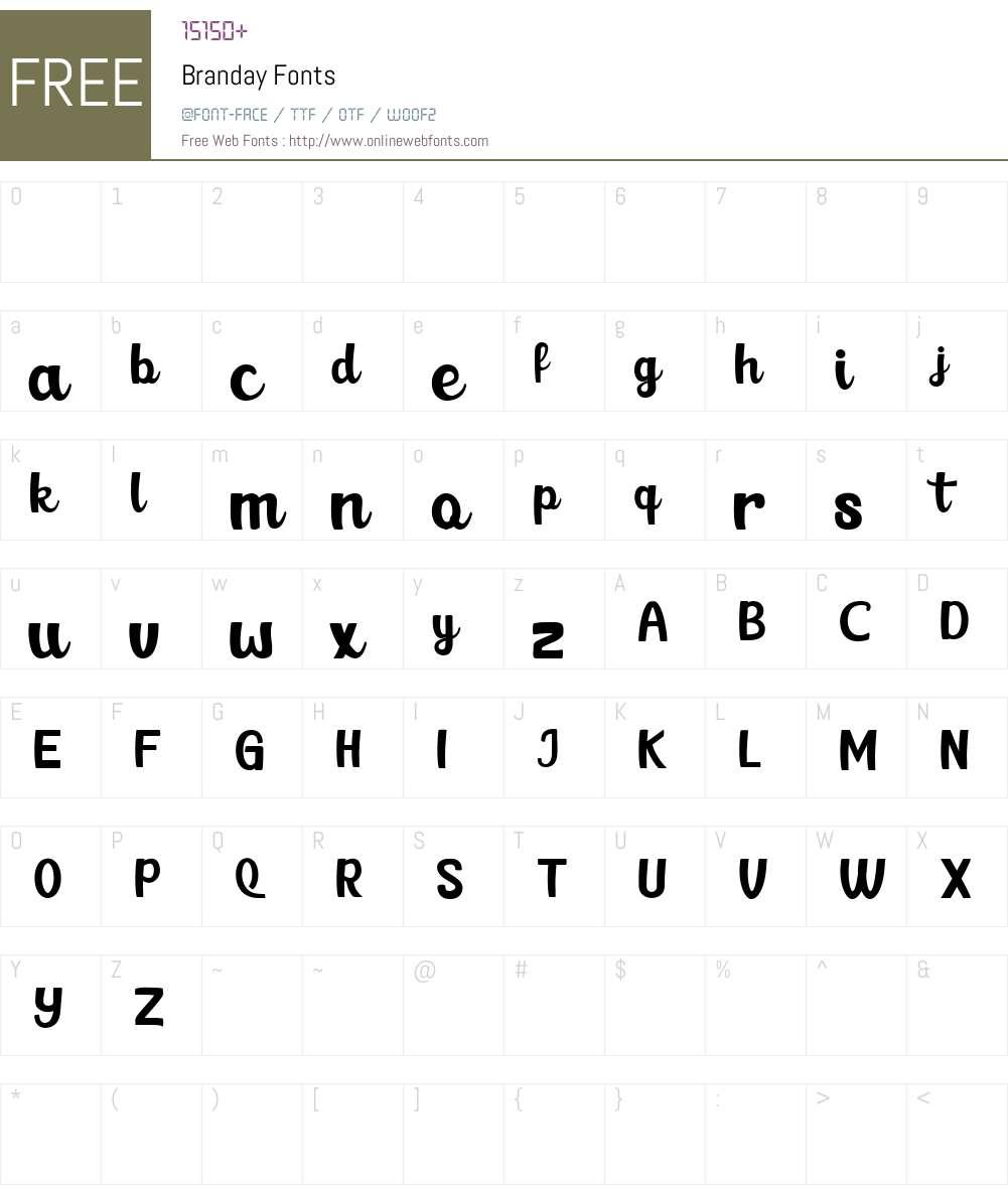 Branday Font Screenshots