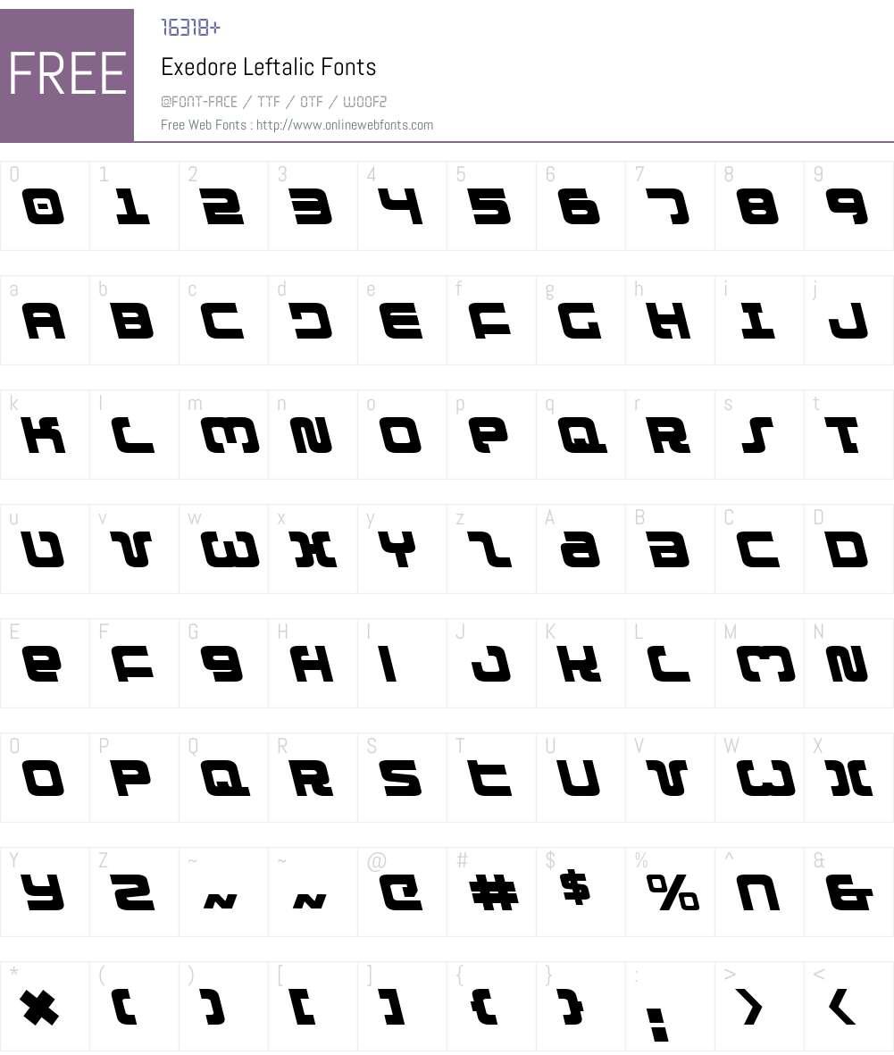 Exedore Leftalic Font Screenshots