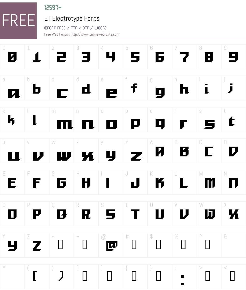 ET Electrotype Font Screenshots