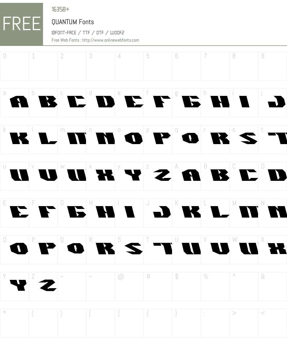 QUANTUM Font Screenshots
