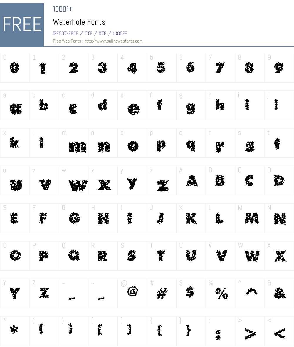 Waterhole Font Screenshots