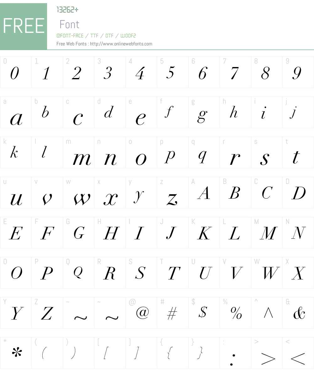 DidotW01-Italic Font Screenshots