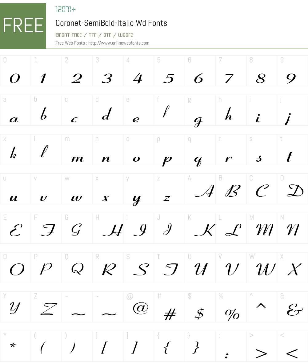 Coronet-SemiBold-Italic Wd Font Screenshots