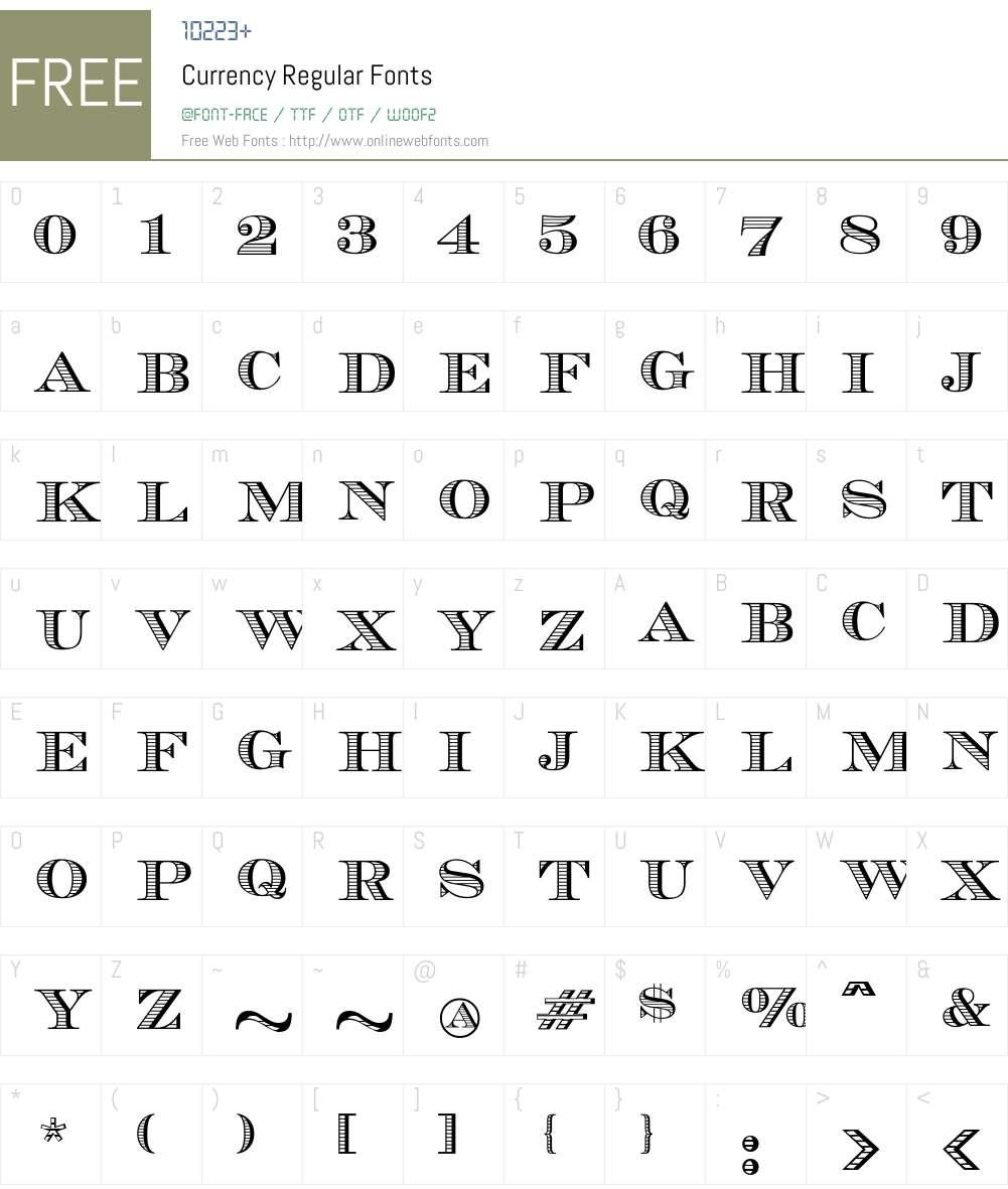 Currency Font Screenshots
