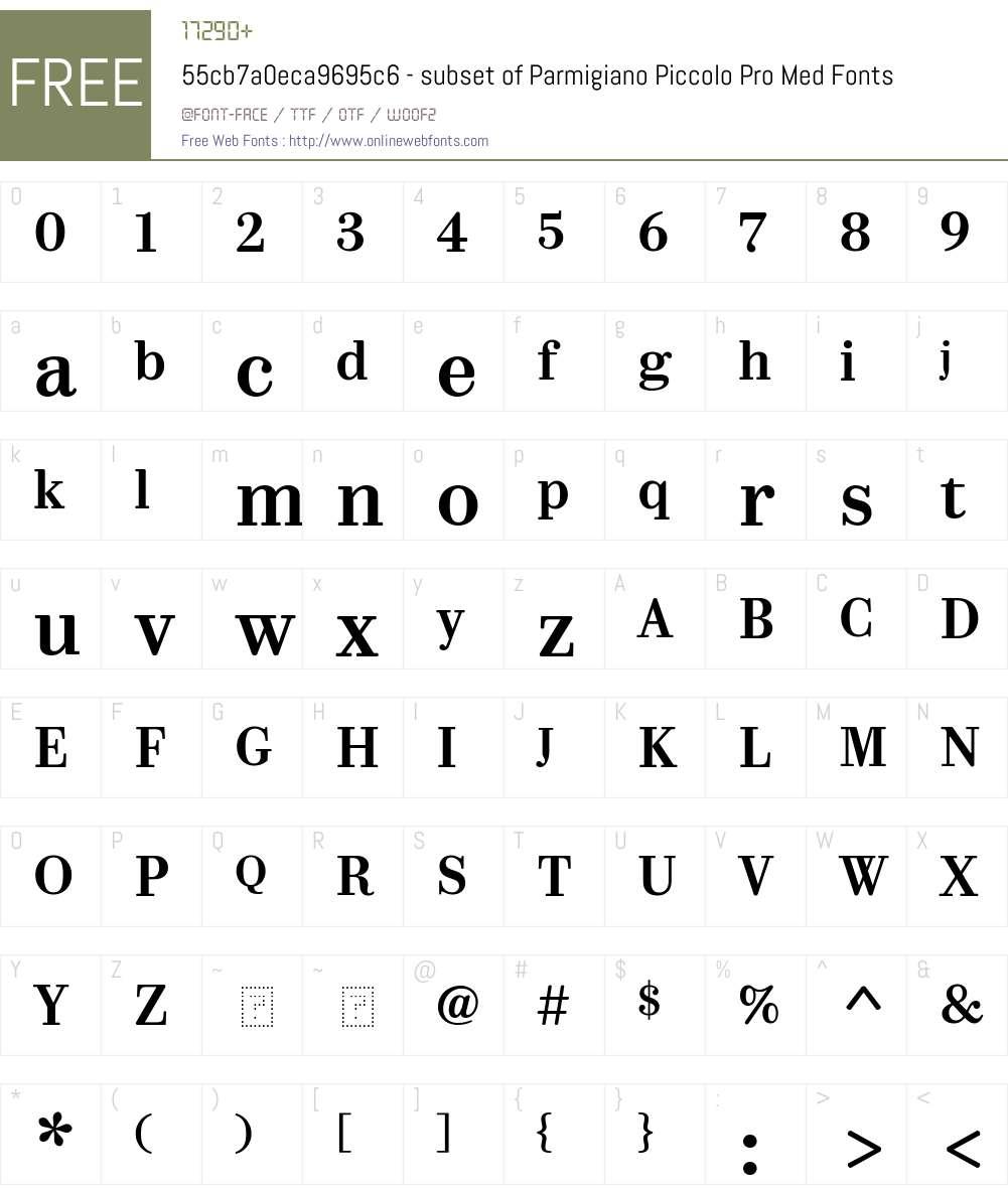 55cb7a0eca9695c6 - subset of Parmigiano Piccolo Pro Med Font Screenshots