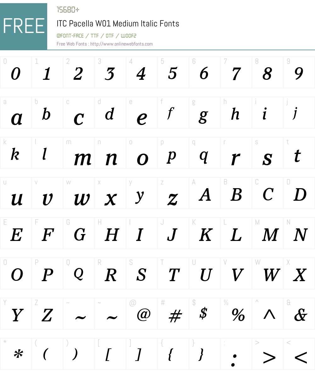 ITCPacellaW01-MediumItalic Font Screenshots