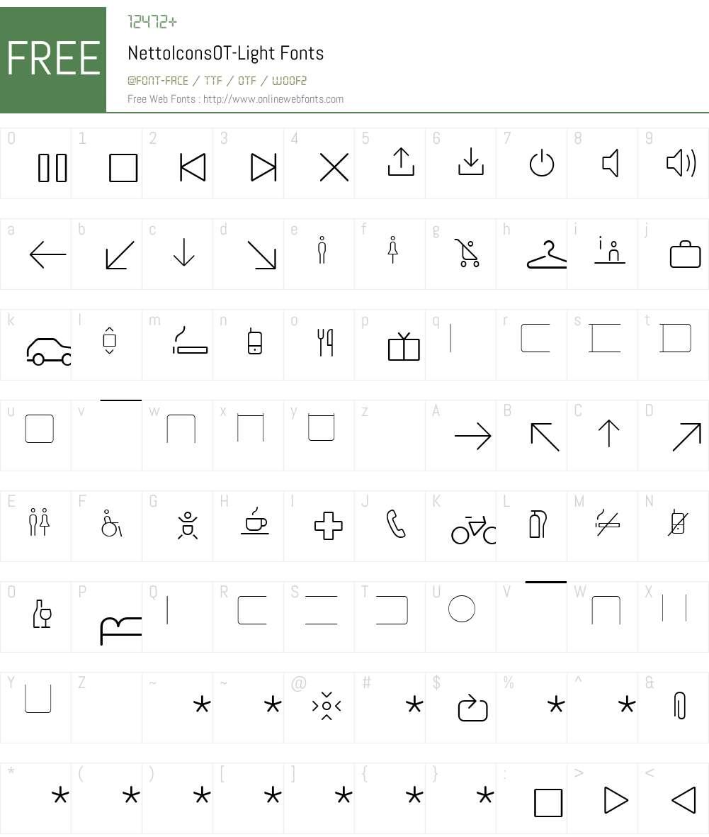 NettoIconsOT-Light Font Screenshots