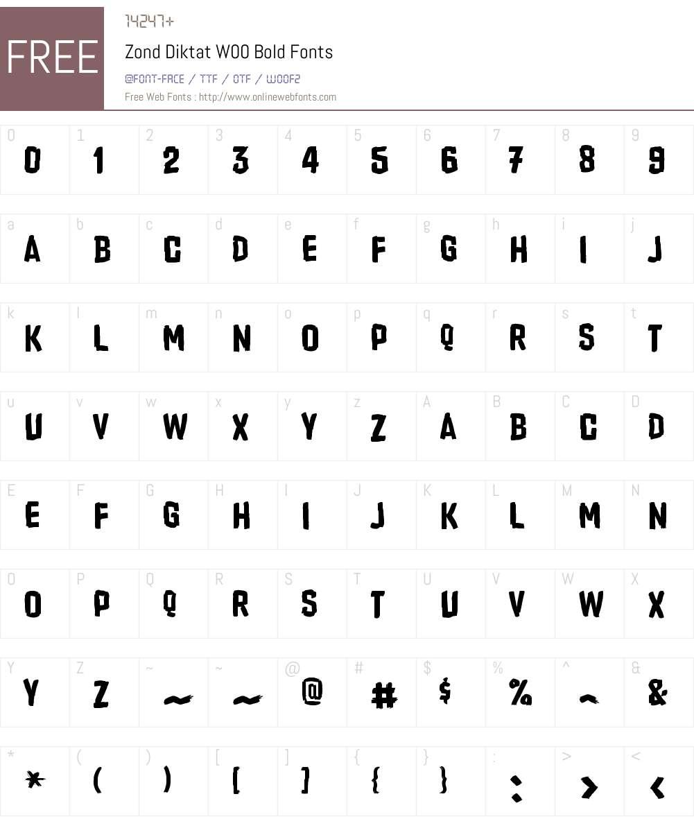 ZondDiktatW00-Bold Font Screenshots