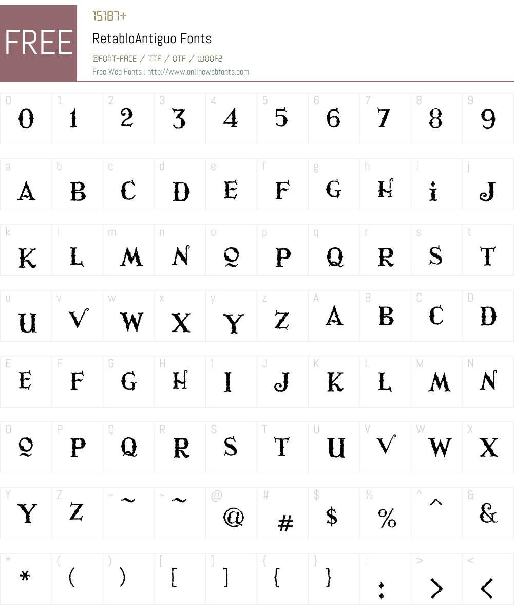 Retablo Font Screenshots