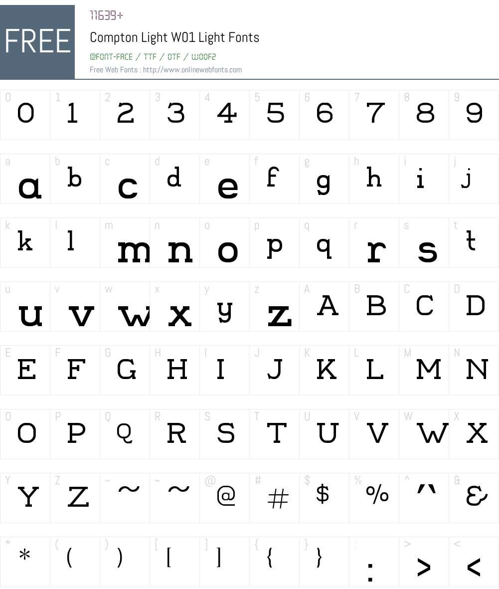 ComptonLightW01-Light Font Screenshots