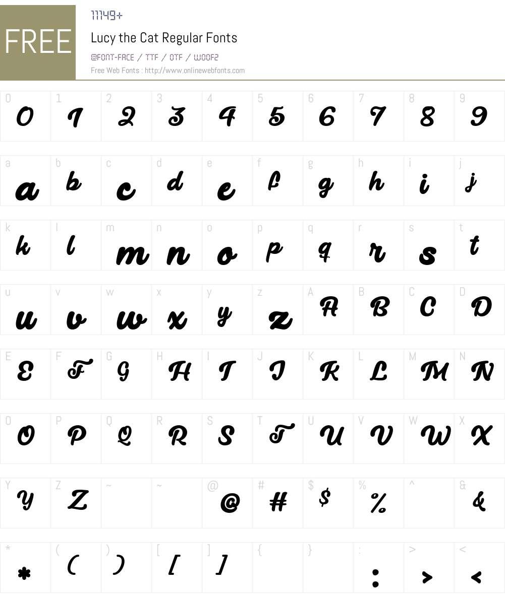 Lucy the Cat Font Screenshots