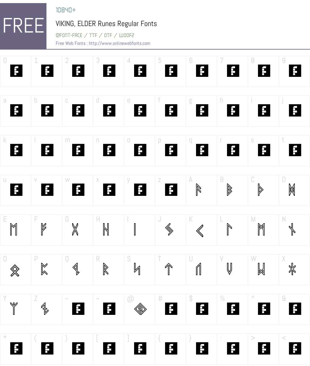 VIKING, ELDER Runes Font Screenshots