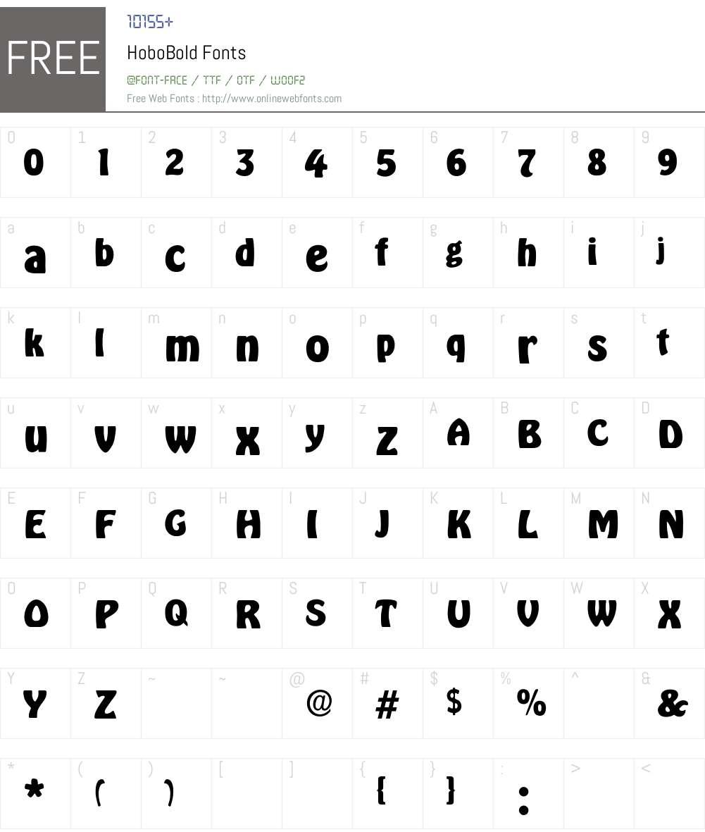 HoboBold Font Screenshots
