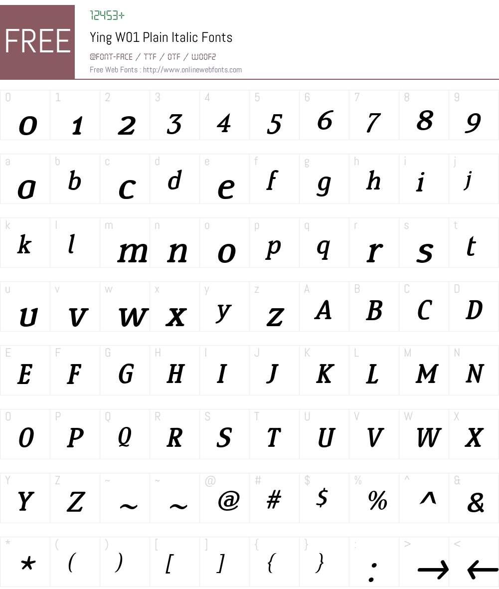 YingW01-PlainItalic Font Screenshots