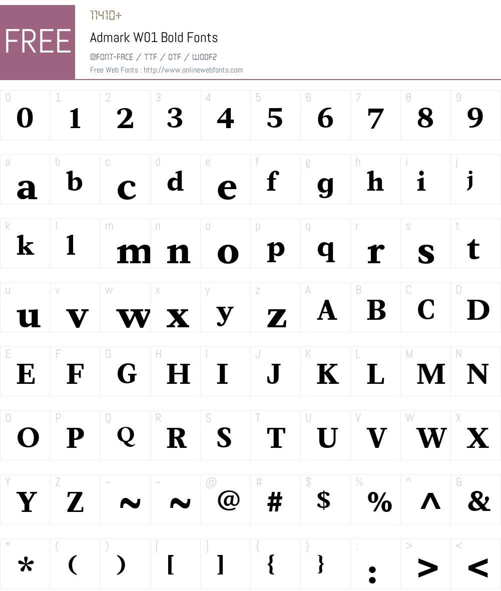 AdmarkW01-Bold Font Screenshots