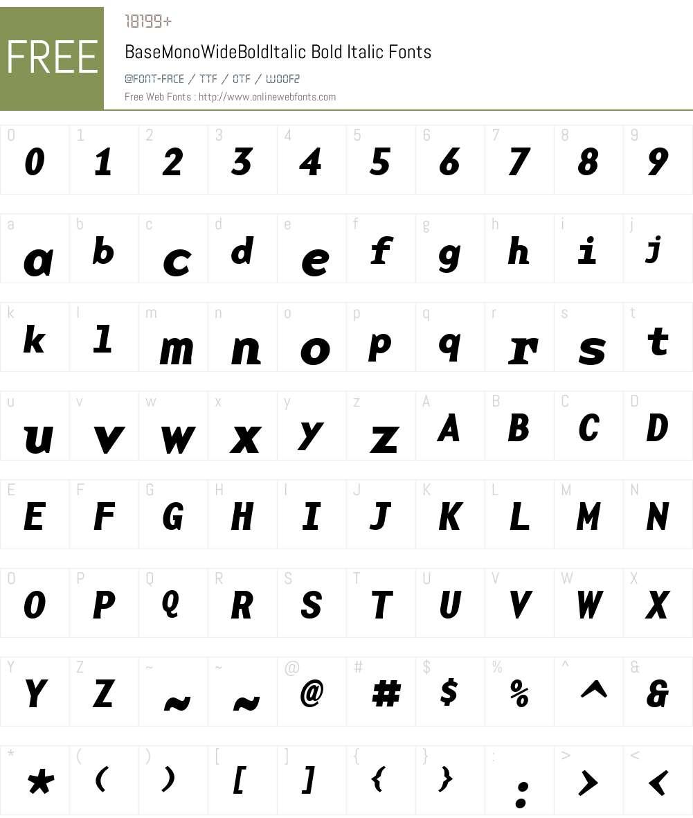 BaseMonoWideBoldItalic Font Screenshots
