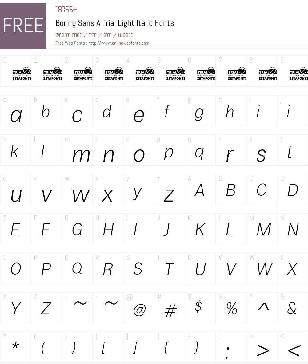 Boring Sans A Trial Font Screenshots