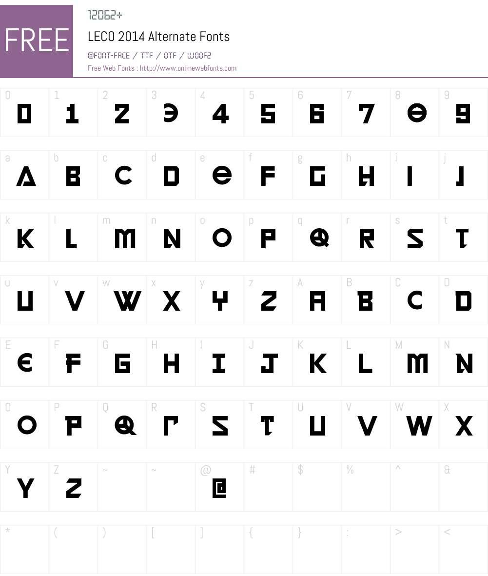 LECO 2014 Alternate Font Screenshots