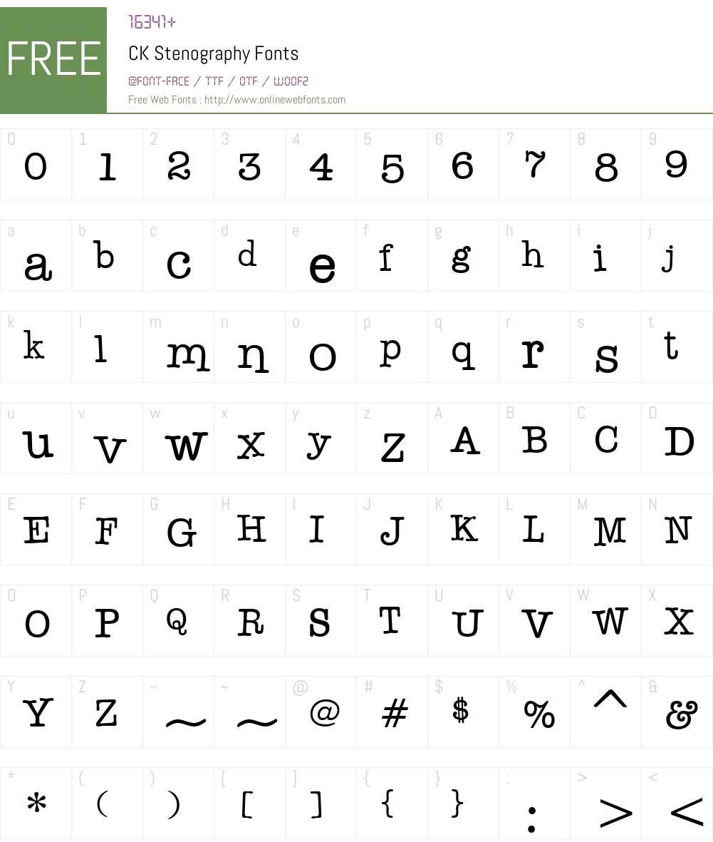 CK Stenography Font Screenshots