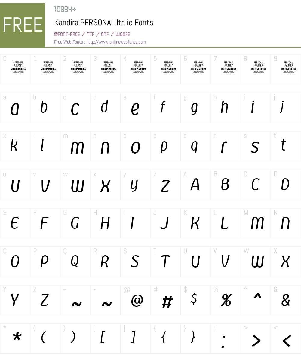 Kandira PERSONAL Font Screenshots