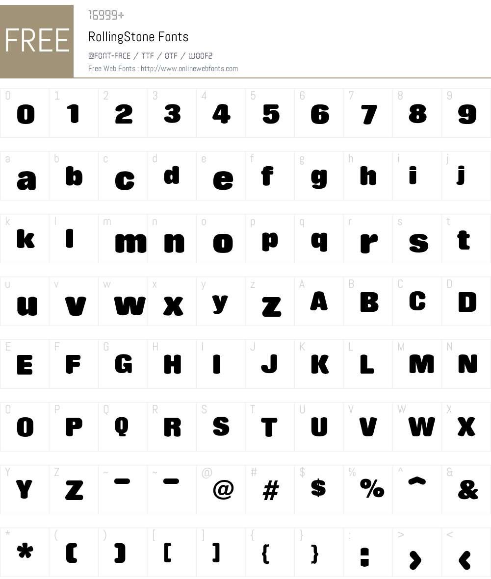 RollingStone Font Screenshots