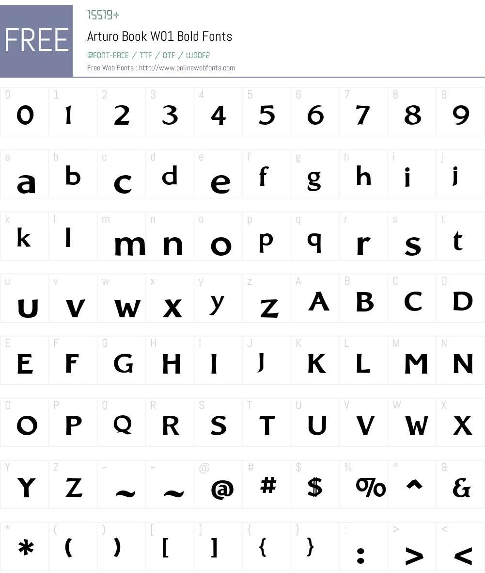 ArturoBookW01-Bold Font Screenshots