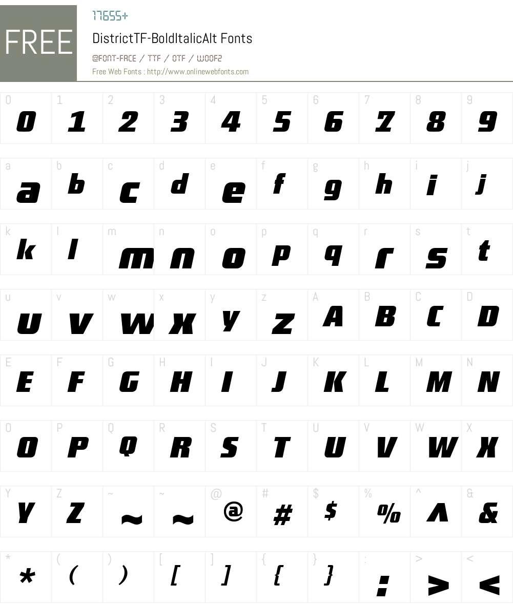 DistrictTF-BoldItalicAlt Font Screenshots